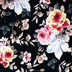 Pink Yellow Big Floral on Black Cotton Jersey Spandex Blend Knit Fabric