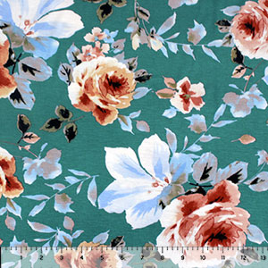 Caramel Peach Big Floral on Teal Cotton Jersey Spandex Blend Knit Fabric