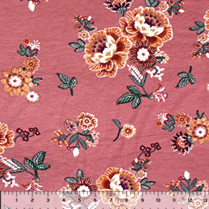 Rust Maroon Stitched Floral on Clay Cotton Jersey Spandex Blend Knit Fabric