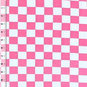 Hot Pink Checkerboard Cotton Spandex Knit Fabric