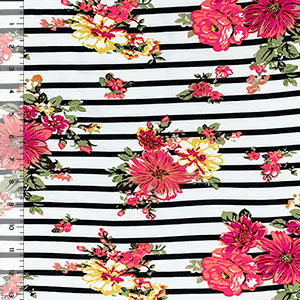 Coral Mustard Floral on Black White Stripe Double Brushed Jersey Spandex Blend Knit Fabric