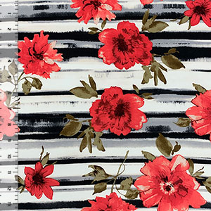 Red Floral on Black Gray Brushed Stripe Double Brushed Jersey Spandex Blend Knit Fabric
