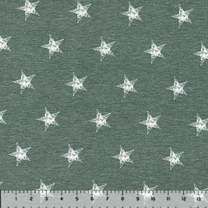 Distressed Stars on Olive Heather Cotton Jersey Spandex Blend Knit Fabric
