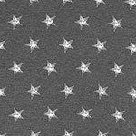 Distressed Stars on Charcoal Heather Cotton Jersey Spandex Blend Knit Fabric