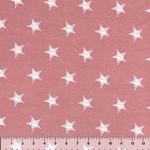 Distressed Stars on Dusty Pink Heather Cotton Jersey Spandex Blend Knit Fabric