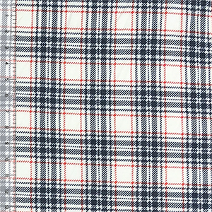 Denim Blue Poppy Red Plaid Cotton Spandex Blend Knit Fabric