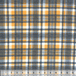 Marigold Charcoal Plaid Cotton Spandex Blend Knit Fabric