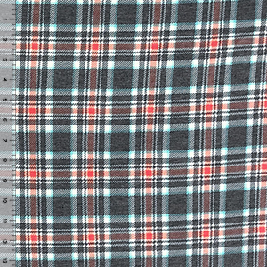 Aqua Charcoal Plaid Cotton Spandex Blend Knit Fabric