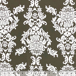 Big White Baroque on Olive Green Cotton Jersey Spandex Blend Knit Fabric