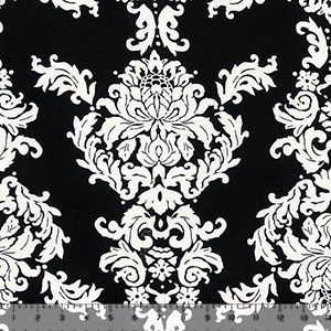 Half Yard Big Ivory Baroque on Black Cotton Jersey Spandex Blend Knit Fabric