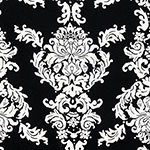 Big Ivory Baroque on Black Cotton Jersey Spandex Blend Knit Fabric
