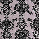 Big Black Baroque on Gray Cotton Jersey Spandex Blend Knit Fabric