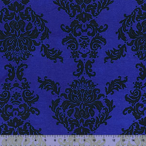Big Black Baroque on Royal Cotton Jersey Spandex Blend Knit Fabric