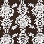 Big White Baroque on Cocoa Cotton Jersey Spandex Blend Knit Fabric