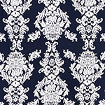 Big White Baroque on Navy Cotton Jersey Spandex Blend Knit Fabric