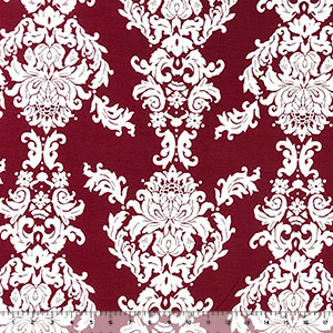 Big White Baroque on Maroon Cotton Jersey Spandex Blend Knit Fabric