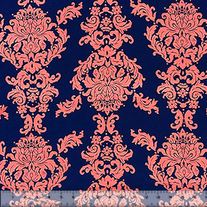 Big Coral Baroque on Navy Cotton Jersey Spandex Blend Knit Fabric