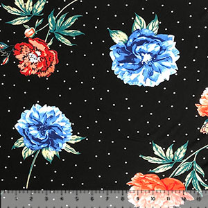 Big Blue Coral Flowers Black White Pin Dots Double Brushed Jersey Spandex Blend Knit Fabric