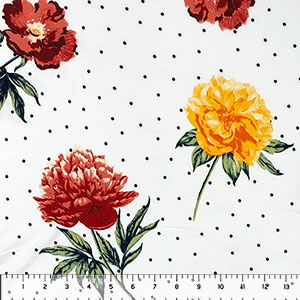 Big Yellow Red Flowers White Black Pin Dots Double Brushed Jersey Spandex Blend Knit Fabric