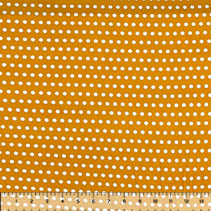 White Polka Dots on Mustard Yellow Double Brushed Jersey Spandex Blend Knit Fabric