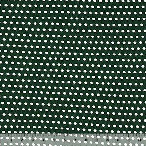White Polka Dots on Pine Green Double Brushed Jersey Spandex Blend Knit Fabric