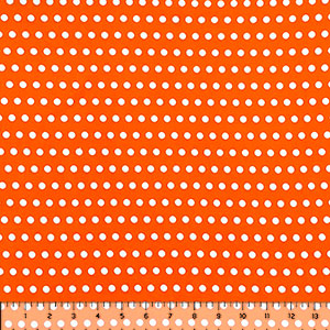 White Polka Dots on Starburst Orange Double Brushed Jersey Spandex Blend Knit Fabric