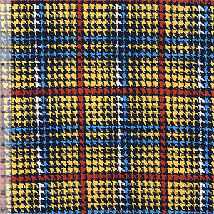 Gold Rust Navy Houndstooth Plaid Double Brushed Jersey Spandex Blend Knit Fabric
