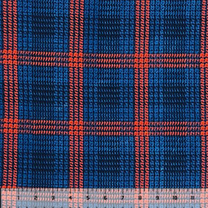 Navy Red Vintage Plaid Double Brushed Jersey Spandex Blend Knit Fabric