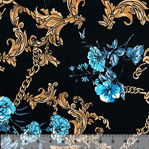 Blue Floral Gold Chain on Black Double Brushed Jersey Spandex Blend Knit Fabric