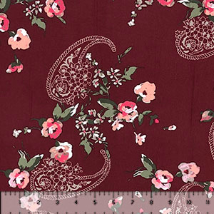 Pink Floral Paisley on Burgundy Double Brushed Jersey Spandex Blend Knit Fabric