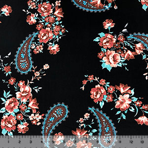 Mauve Floral Ornate Paisley on Black Double Brushed Jersey Spandex Blend Knit Fabric