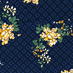 Mustard Green Floral on Navy Diamonds Double Brushed Jersey Spandex Blend Knit Fabric