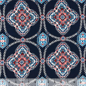 Rust Teal Boho Tiles on Navy Double Brushed Jersey Spandex Blend Knit Fabric