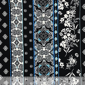 Aqua Sky Boho Floral Rows on Black Double Brushed Jersey Spandex Blend Knit Fabric