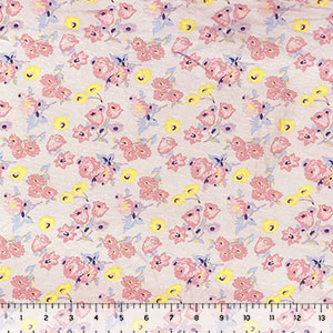 Mauve Lemon Tulip Floral on Blush Modal Spandex Blend Knit Fabric