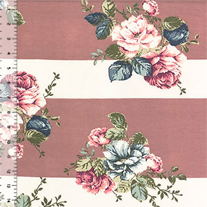 Mauve Fuchsia Rose Bouquets on Wide Dusty Pink Stripes Spandex Blend Knit Fabric