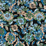 Retro Blue Olive Floral on Black Cotton Jersey Spandex Blend Knit Fabric