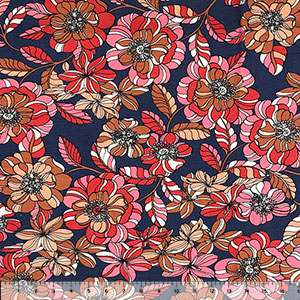 Retro Red Caramel Floral on Plum Cotton Jersey Spandex Blend Knit Fabric