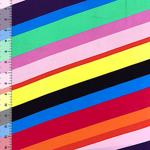 Diagonal Variegated Rainbow Stripe Double Brushed Jersey Spandex Blend Knit Fabric