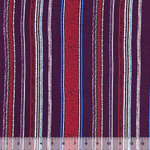 Half Yard Eggplant Red Vintage Vertical Stripe Double Brushed Jersey Spandex Blend Knit Fabric