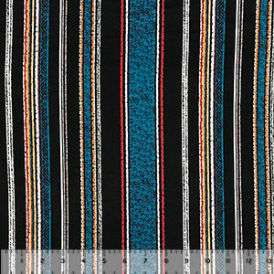 Black Teal Vintage Vertical Stripe Double Brushed Jersey Spandex Blend Knit Fabric