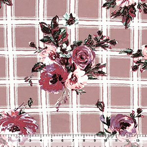 Mauve Lavender Floral on Dusty Taupe Plaid Double Brushed Jersey Spandex Blend Knit Fabric