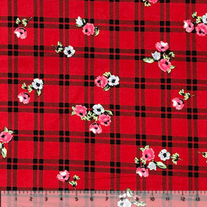 Small Pink Blue Floral on Red Black Plaid Double Brushed Jersey Spandex Blend Knit Fabric
