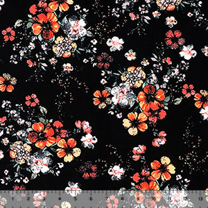 Red Marigold Twinkle Floral on Black Double Brushed Jersey Spandex Blend Knit Fabric
