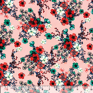 Red Teal Twinkle Floral on Blush Double Brushed Jersey Spandex Blend Knit Fabric
