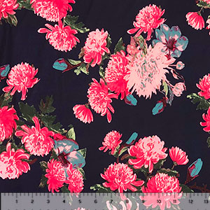 Bright Pink Mums on Navy Blue Double Brushed Jersey Spandex Blend Knit Fabric