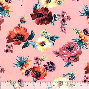 Mauve Yellow Floral on Dusty Pink Double Brushed Jersey Spandex Blend Knit Fabric