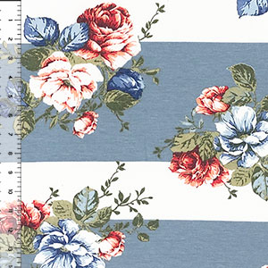 Peach Red Rose Bouquets on Wide Dusty Blue Stripes Spandex Blend Knit Fabric