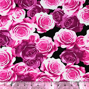 Fuchsia Magenta Photo Roses on Black Cotton Spandex Knit Fabric