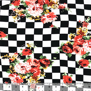 Red Floral Bouquets on Black White Check Double Brushed Jersey Spandex Blend Knit Fabric